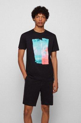 T-Shirt aus Baumwoll-Jersey mit Rundhalsausschnitt und Foto-Print, Schwarz