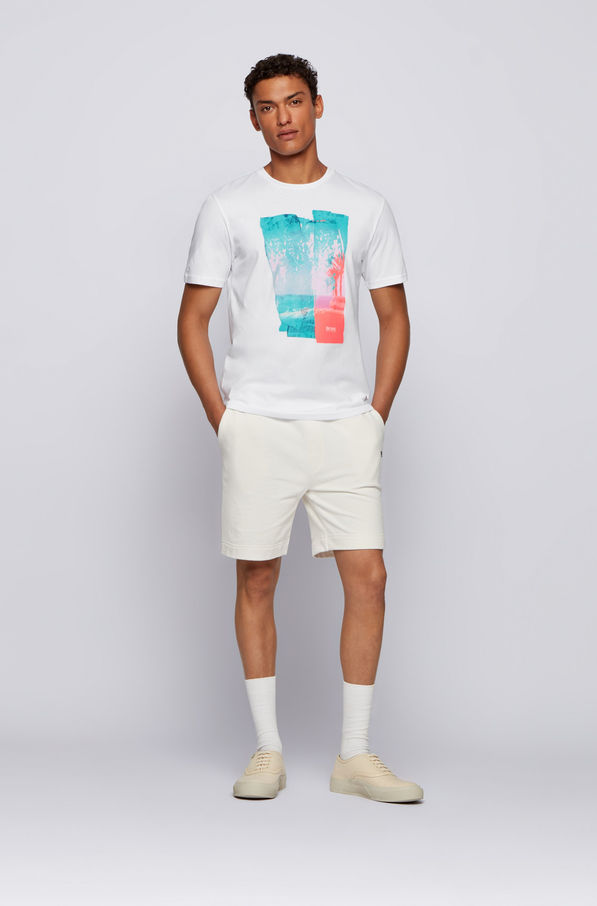 T-Shirt aus Baumwoll-Jersey mit Rundhalsausschnitt und Foto-Print
