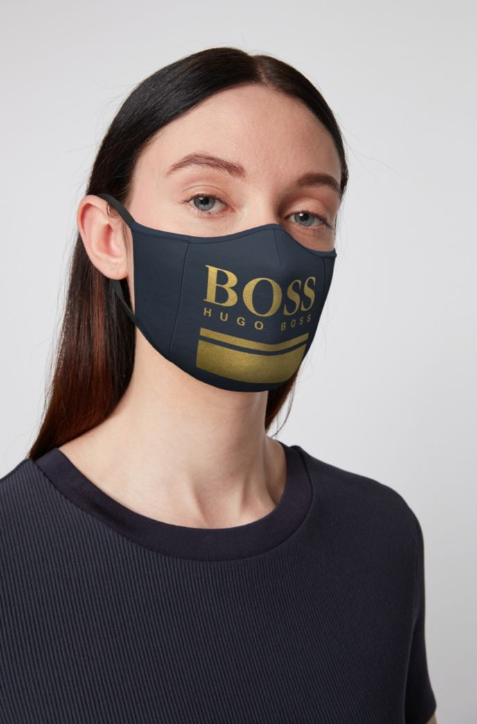 Single-jersey face mask with gold-effect logo