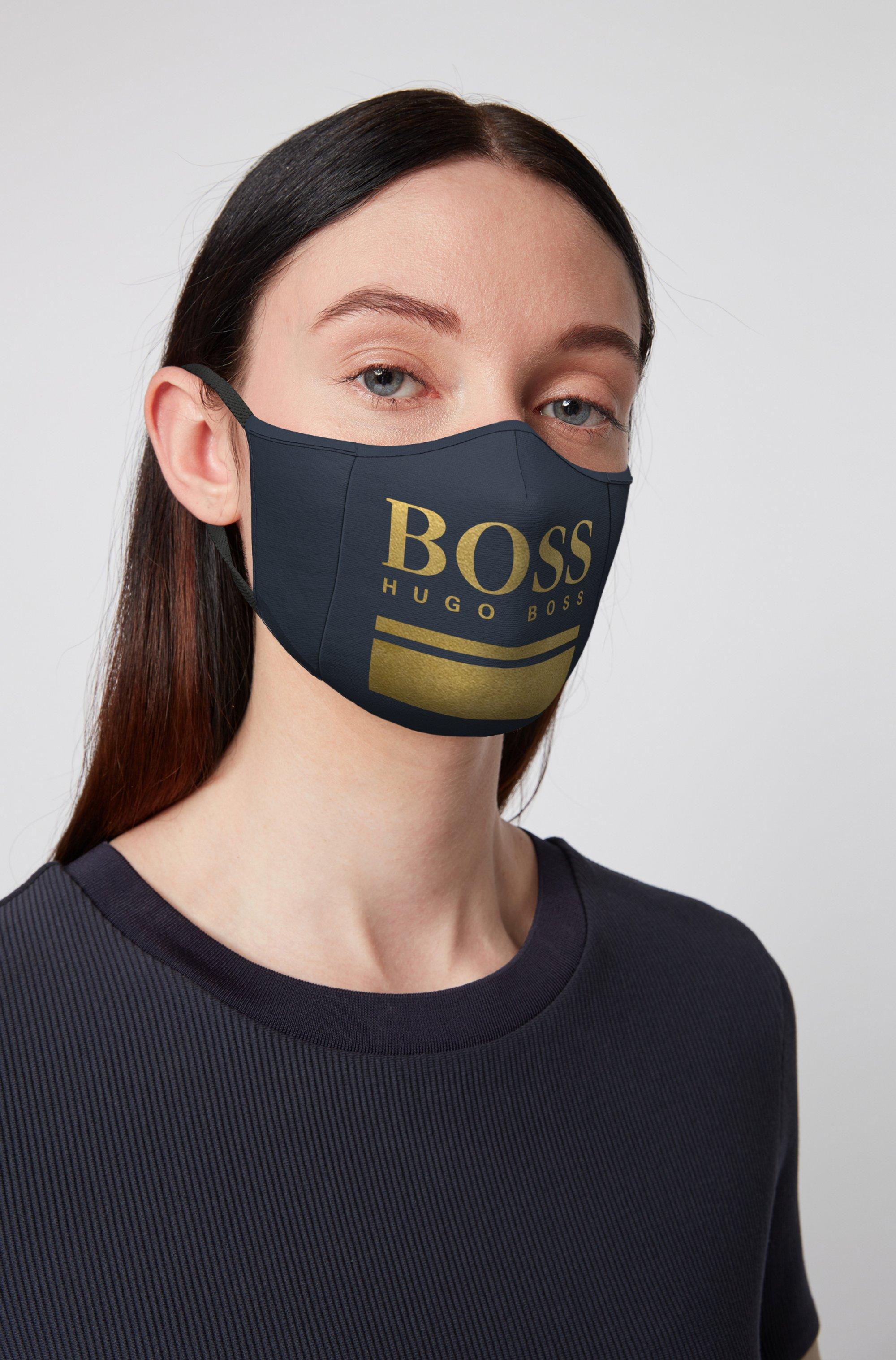 Masque en jersey simple avec logo doré