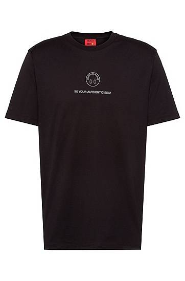 Smiley 笑脸图案棉质平纹单面针织布 T 恤,  001_Black