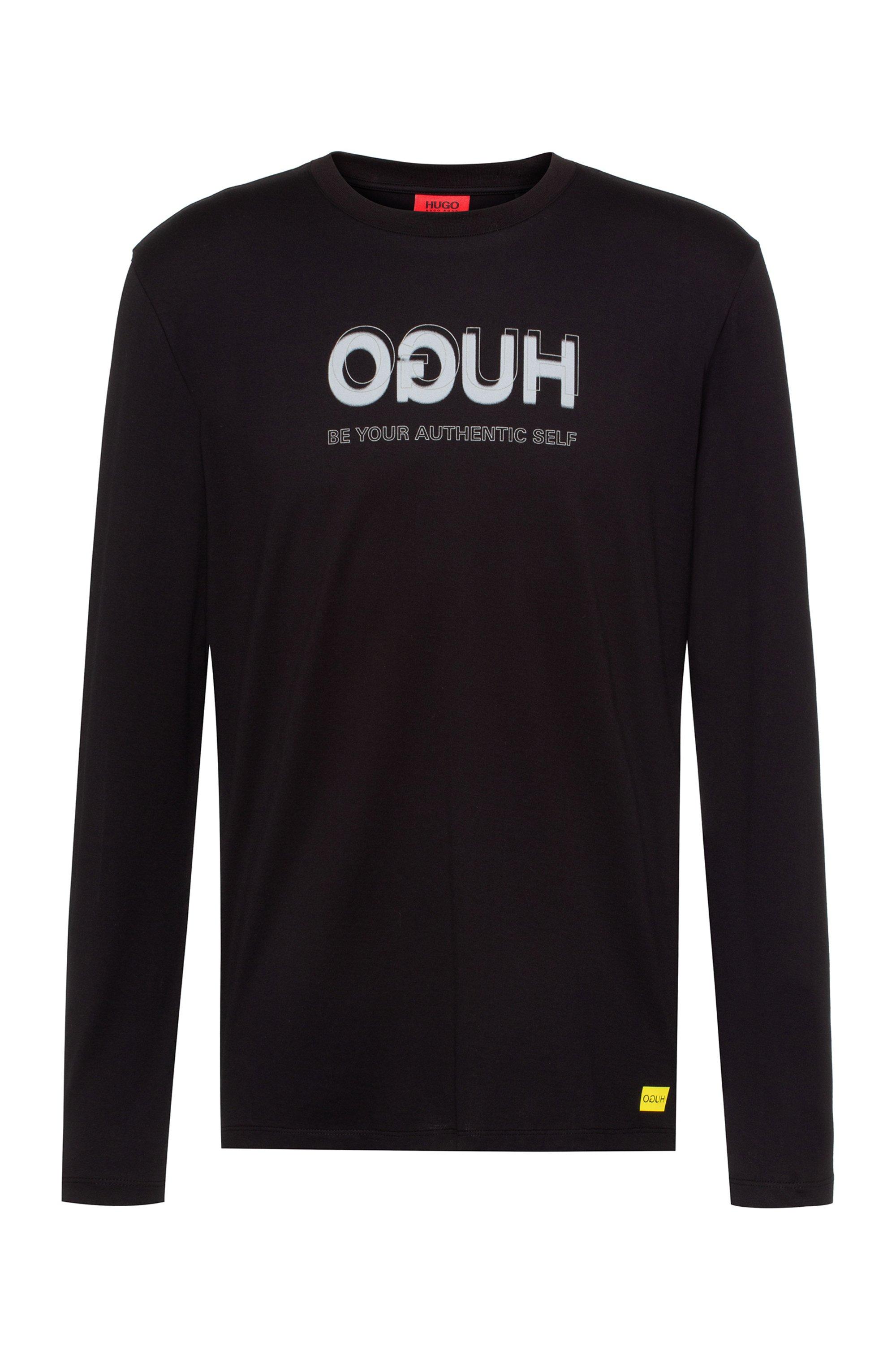 HUGO x Smiley® T-shirt en coton à logo inversé , Noir