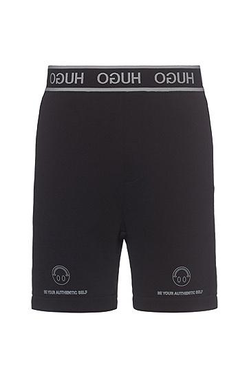 反向徽标装饰裤腰 Smiley 笑脸图案棉质短裤,  001_Black
