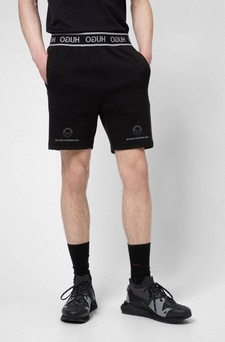 HUGO x Smiley® cotton shorts with reverse-logo waistband, Black