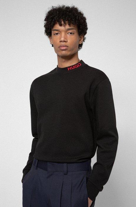 T-shirt van gemerceriseerde katoen met lange mouwen en hoge hals met logo, Zwart