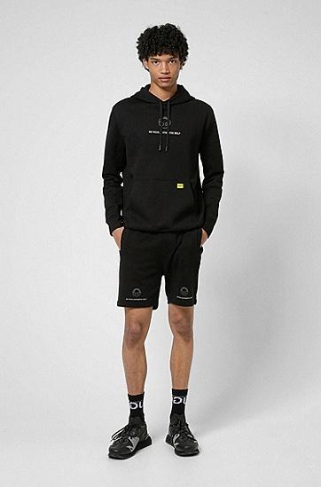 笑脸图标宽松版型连帽运动衫,  001_Black