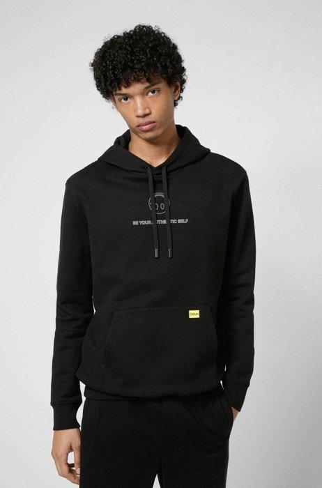 HUGO x Smiley® relaxed-fit hooded sweatshirt, Black