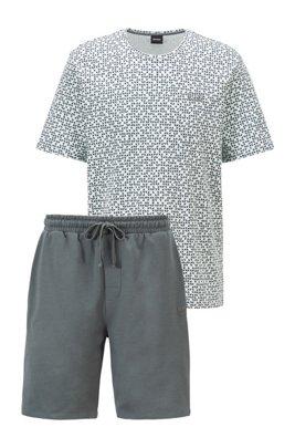 Pyjamaset mit Logo-Stickerei, Dunkelgrün