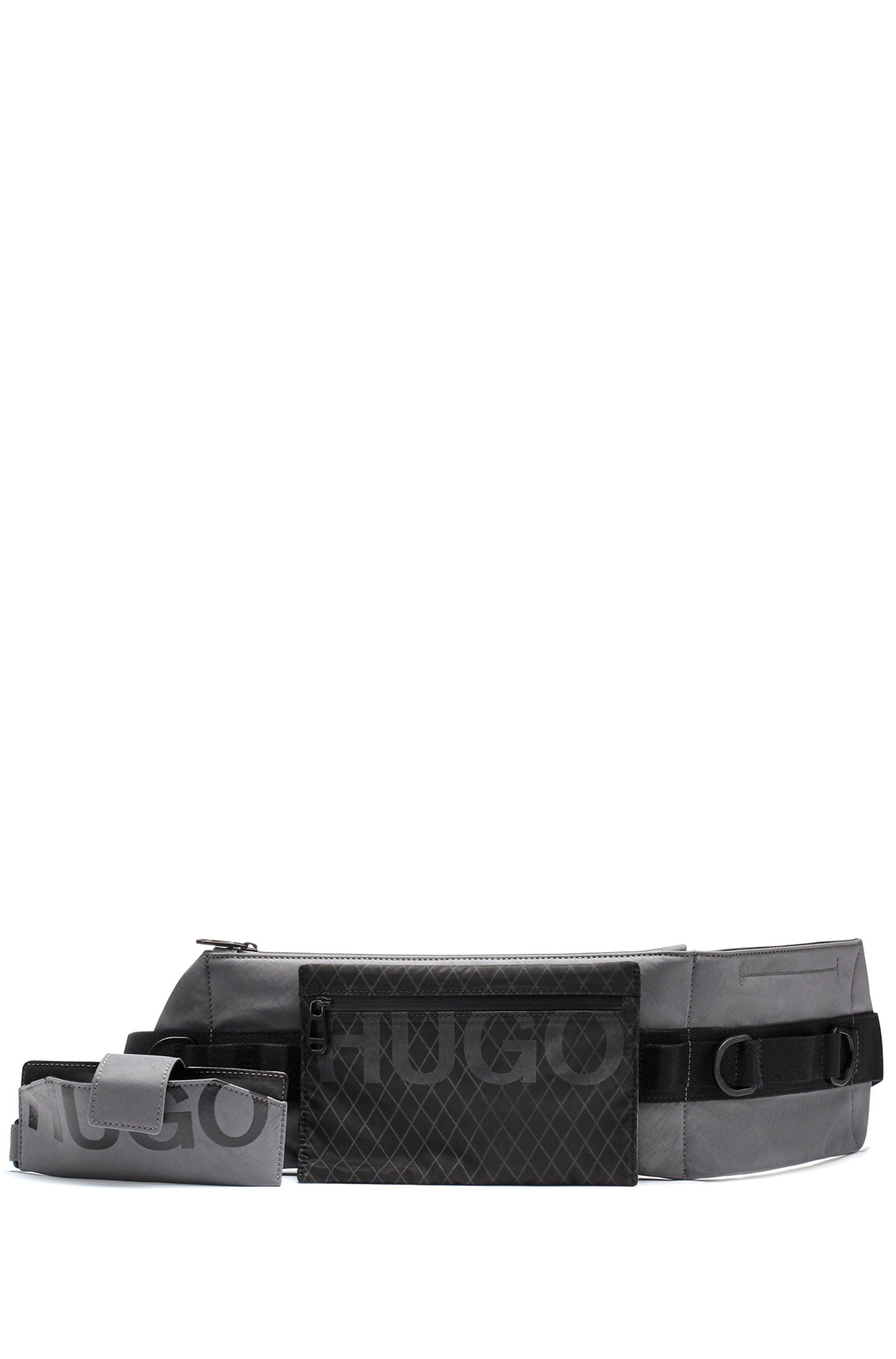 Adjustable belt bag with detachable pochette and logo details, Dark Grey