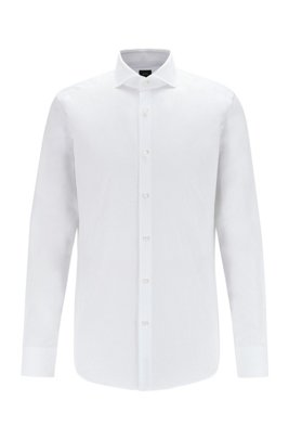 Slim-fit shirt in herringbone cotton with spread collar, White