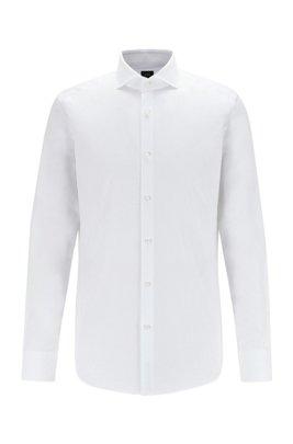 Camicia slim fit in cotone a spina di pesce con colletto alla francese, Bianco