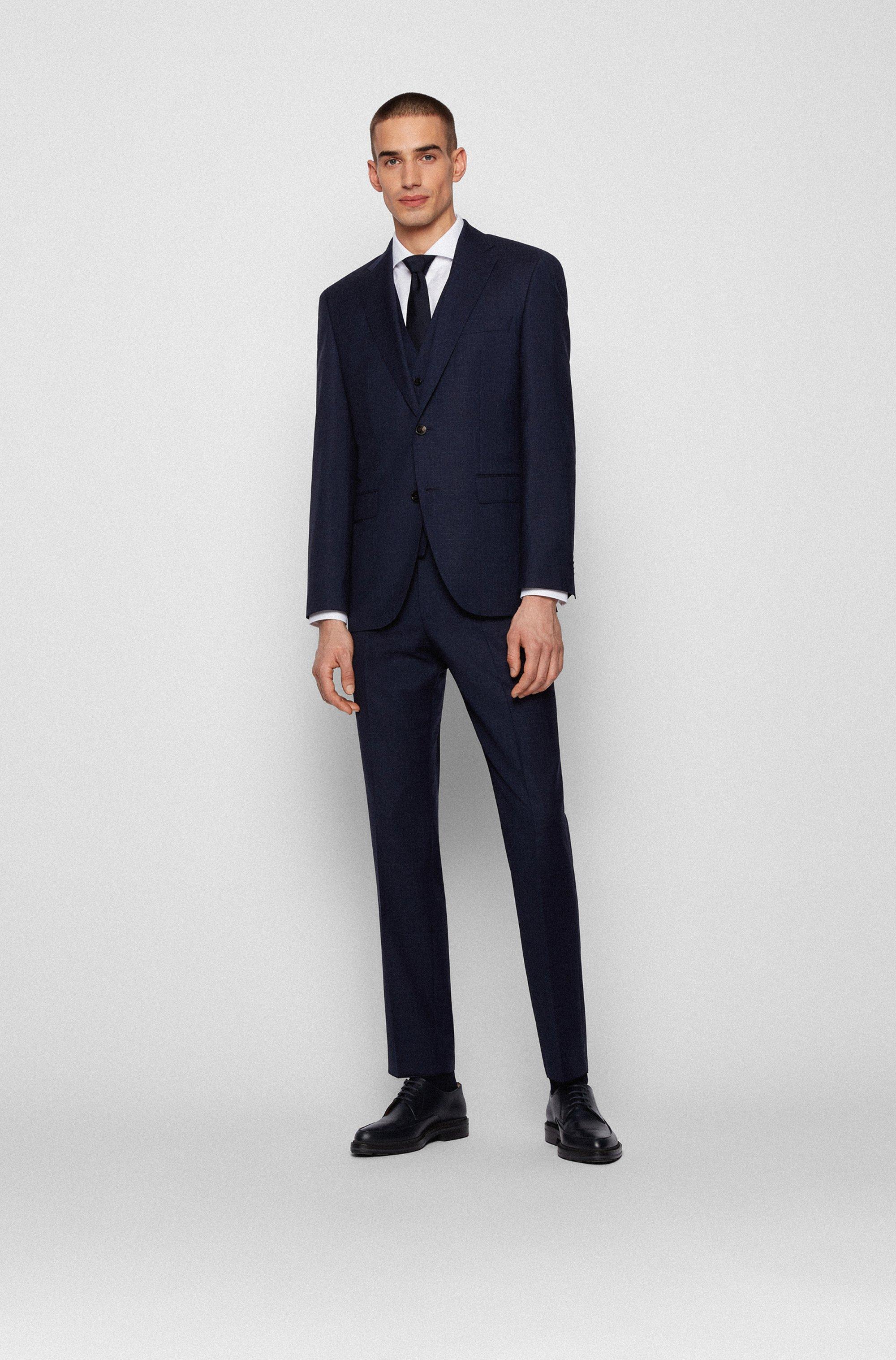 Slim-Fit Hemd aus Baumwolle mit Fischgrat-Muster und Cutaway-Kragen