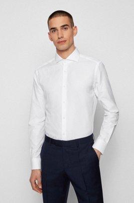 Slim-Fit Hemd aus Baumwolle mit Fischgrat-Muster und Cutaway-Kragen, Weiß