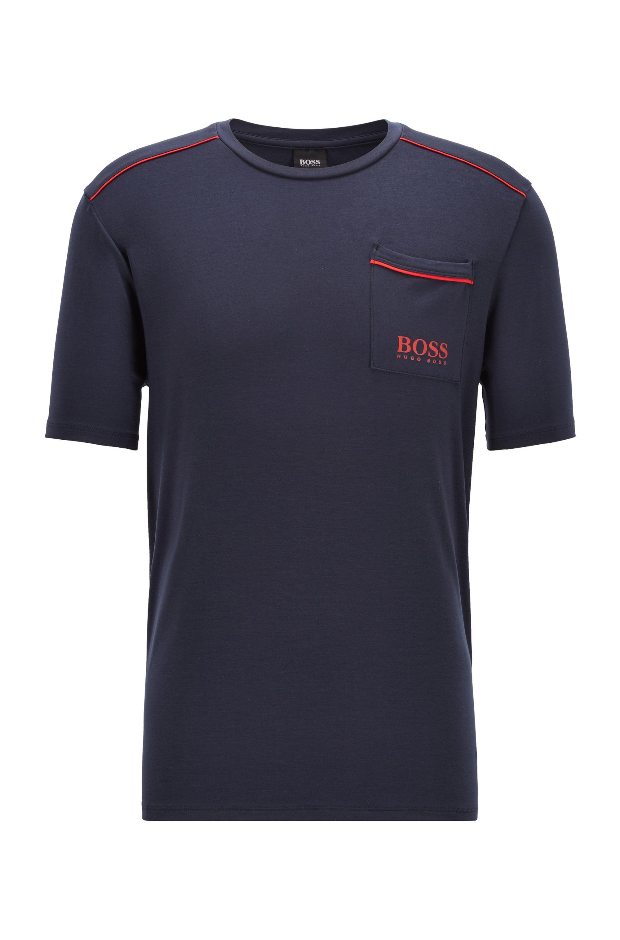 Pyjama-Shirt mit kontrastfarbenen Paspeln und Logo, Dunkelblau