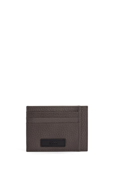 Italian-leather card holder with logo badge, Dark Grey