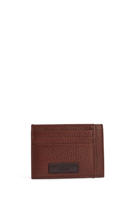 Italian-leather card holder with logo badge, Light Brown
