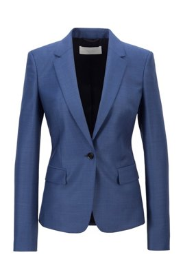 Regular-fit jacket in micro-patterned virgin wool, Blue