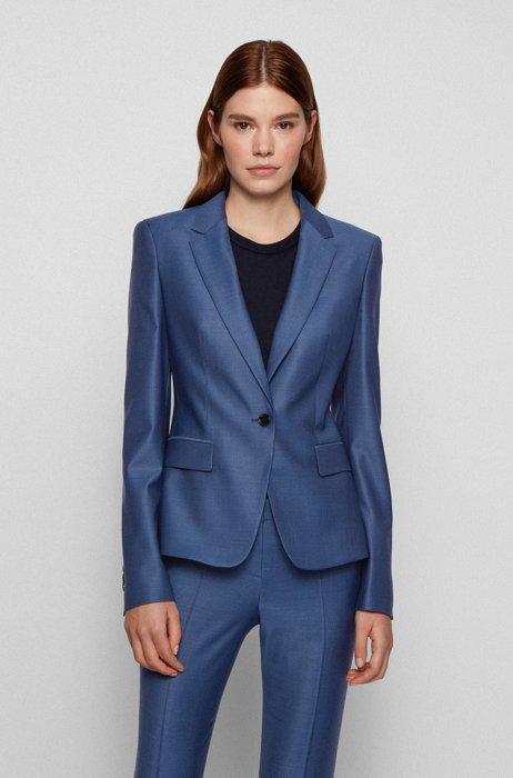 Regular-fit blazer van scheerwol met microdessin, Blauw
