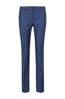 Regular-fit trousers in micro-pattern virgin wool, Blue