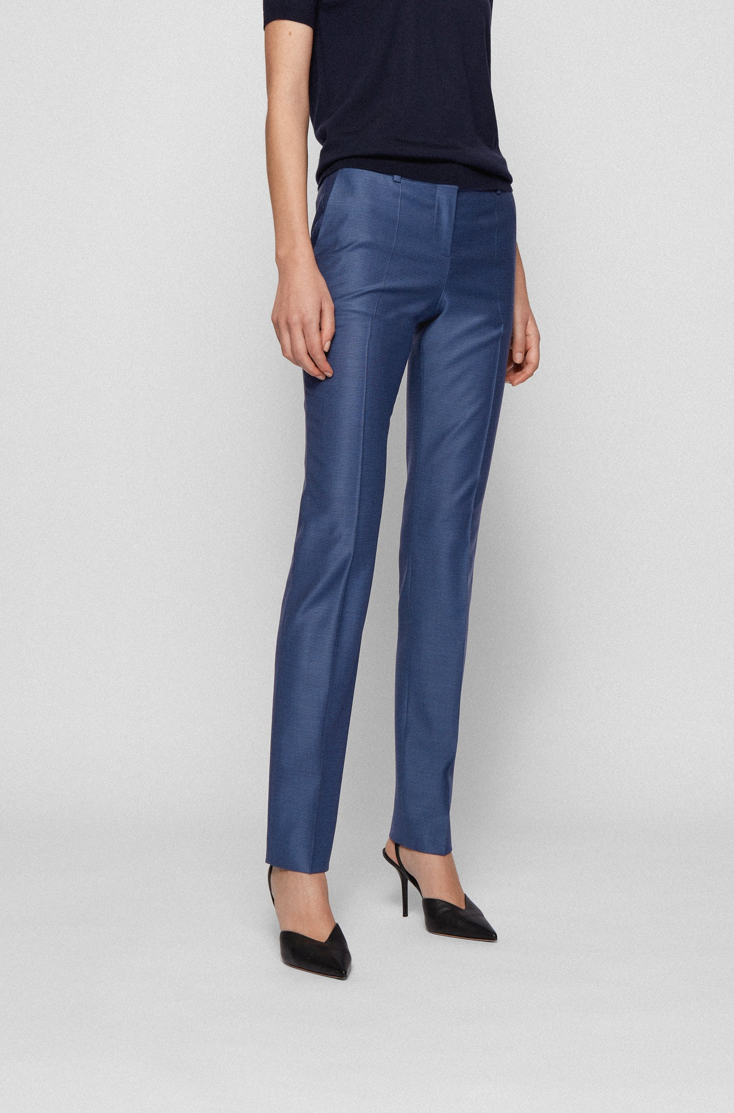 Regular-fit trousers in micro-pattern virgin wool, Blue