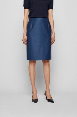 Pencil skirt in micro-patterned virgin wool, Patterned