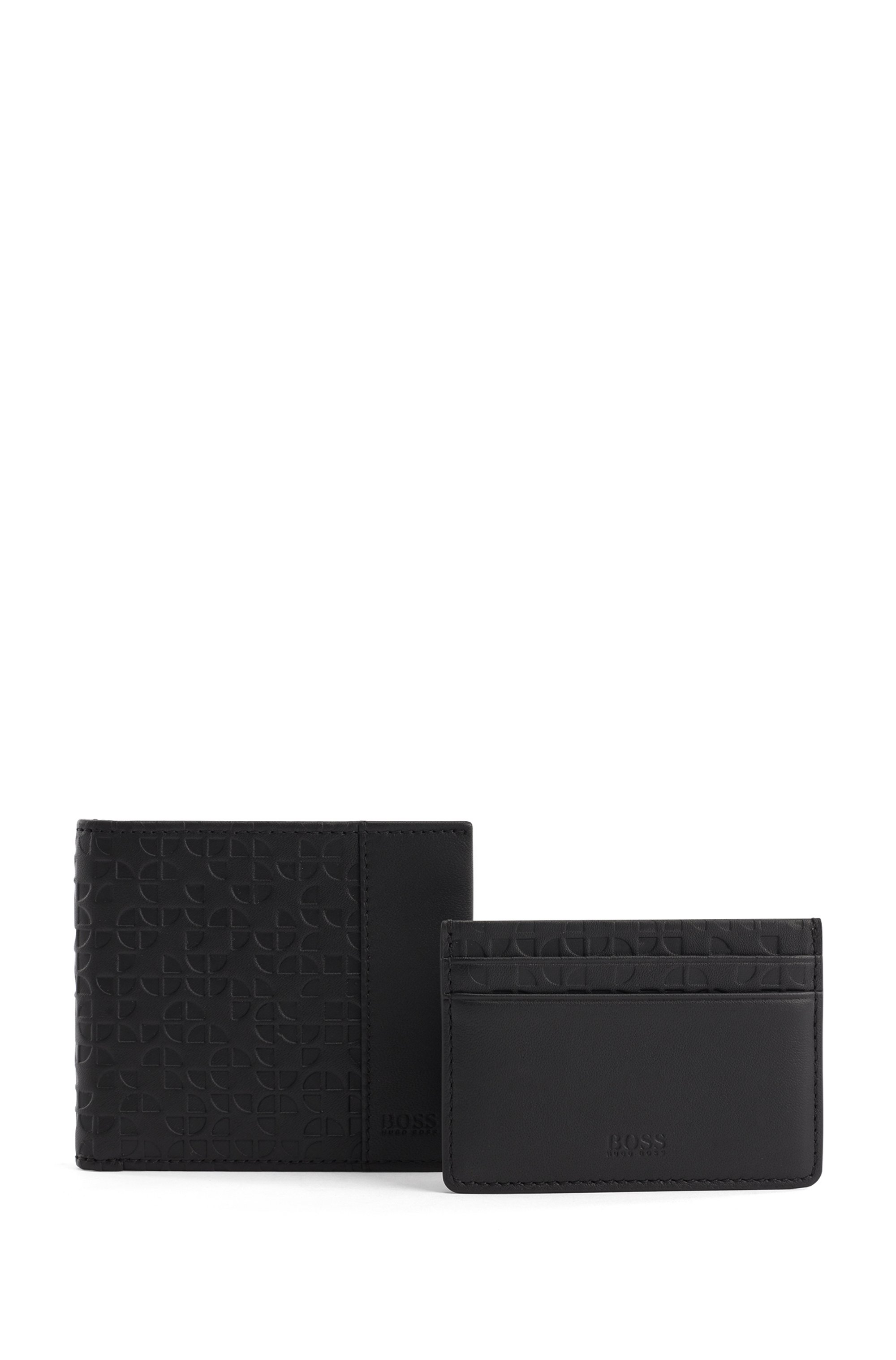 Gift-boxed wallet and card holder in embossed leather