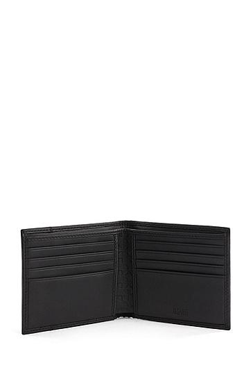 压花皮革钱包卡包礼盒套装,  Black
