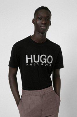T-shirt à col rond en jersey de coton avec logo imprimé, Noir