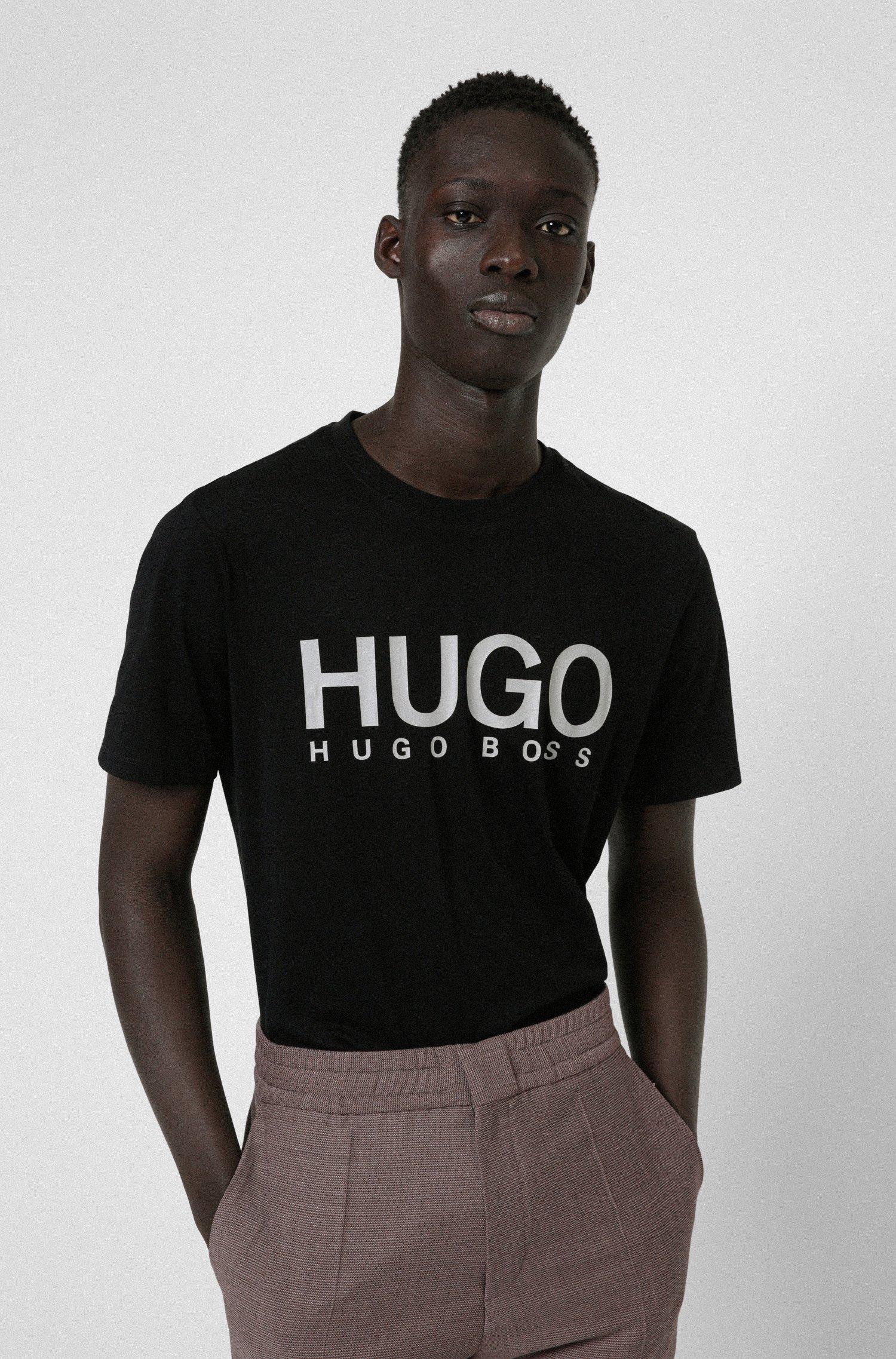 T-Shirt aus Baumwoll-Jersey mit Rundhalsausschnitt und Logo-Print, Schwarz