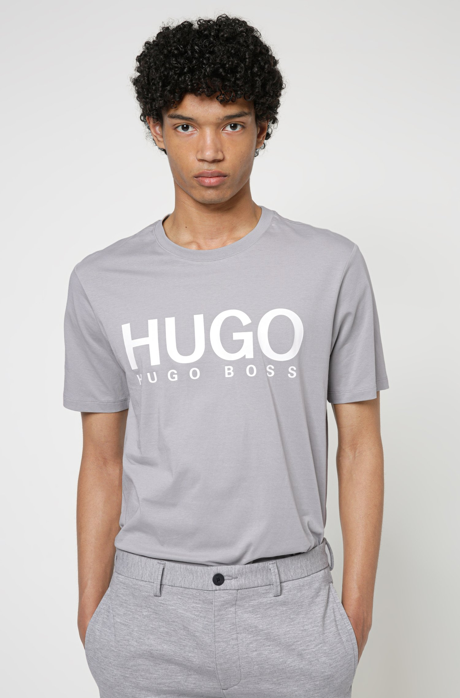 Logo-print crew-neck T-shirt in cotton jersey, Grey