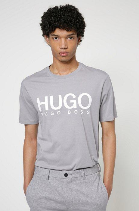 T-Shirt aus Baumwoll-Jersey mit Rundhalsausschnitt und Logo-Print, Grau