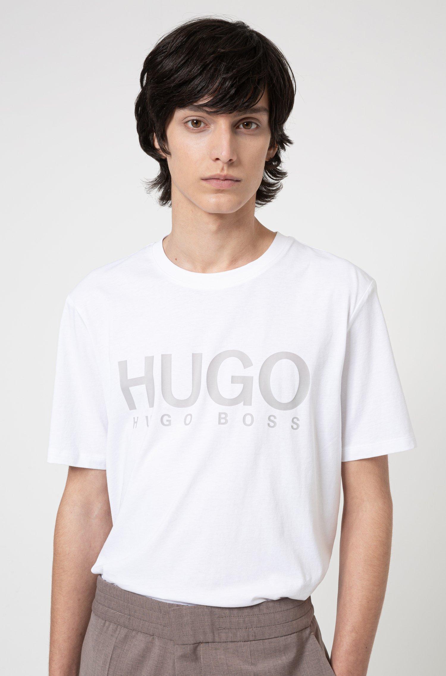 T-Shirt aus Baumwoll-Jersey mit Rundhalsausschnitt und Logo-Print, Weiß
