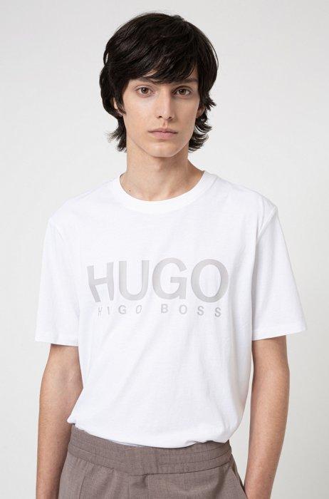T-shirt à col rond en jersey de coton avec logo imprimé, Blanc