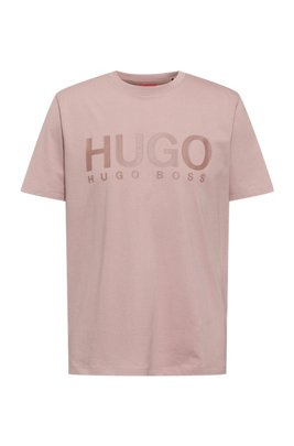 Logo-print crew-neck T-shirt in cotton jersey, light pink