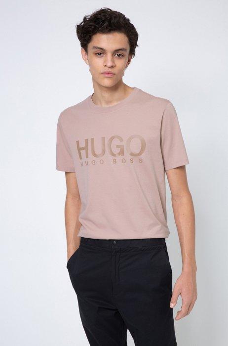 Logo-print crew-neck T-shirt in cotton jersey, light pink