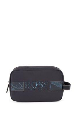 Recycled-nylon washbag with new-season logo artwork, Dark Blue