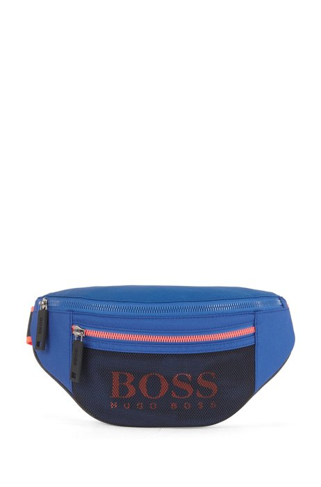 Logo belt bag in nylon and mesh, Blue