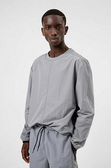 反光徽标图案宽松版型运动衫,  048_Silver