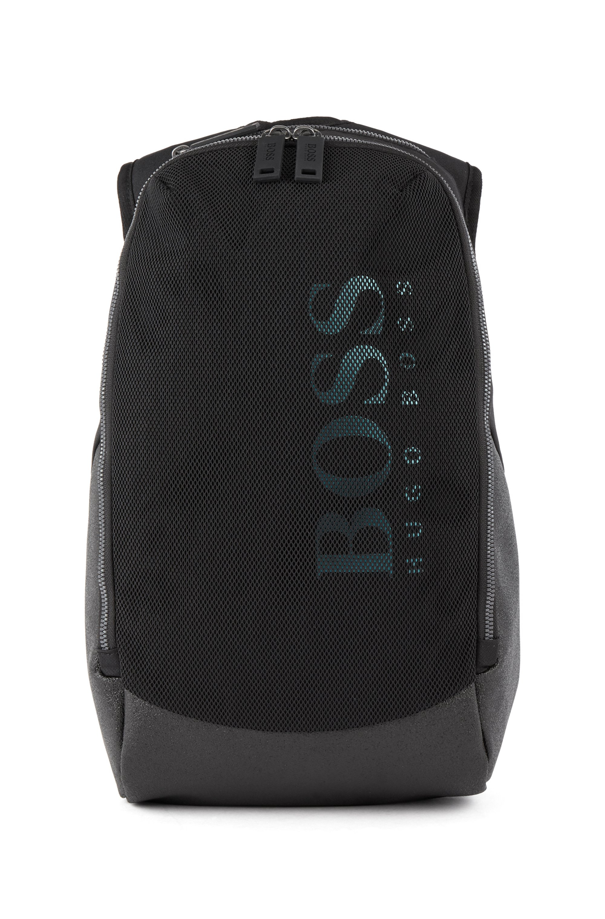 Logo backpack in nylon and mesh with vertical logo, Black