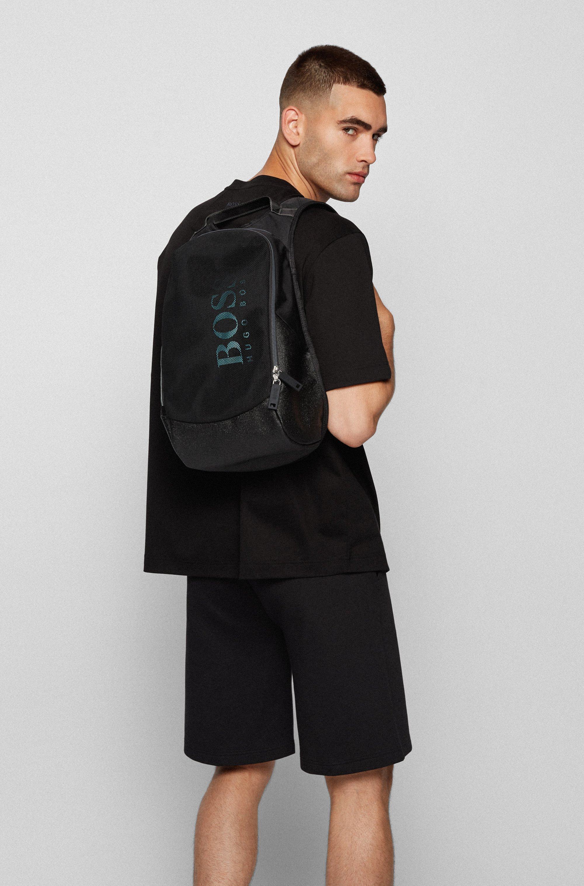 Logo backpack in nylon and mesh with vertical logo