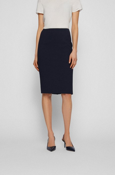 Structured-jersey pencil skirt with exposed zip, Black