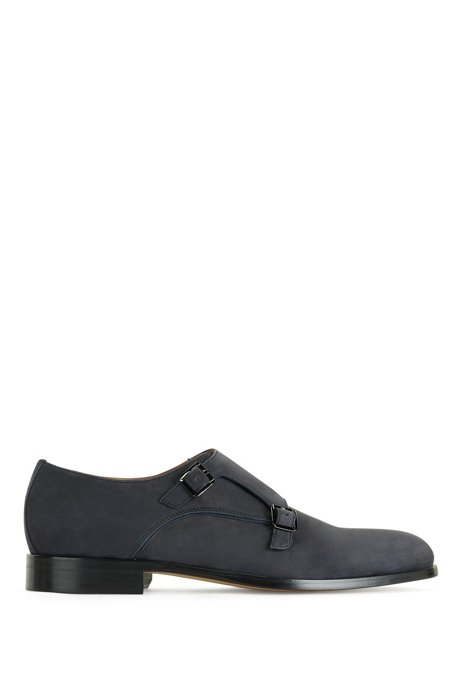 Italian-made double-monk shoes in nubuck leather, Dark Blue
