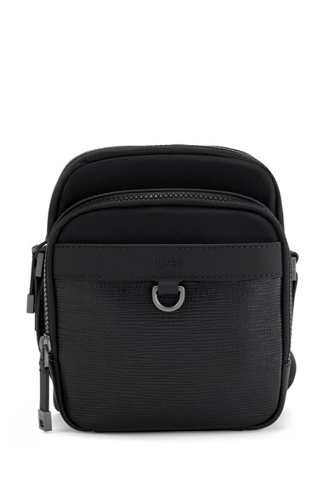 Recycled-nylon reporter bag with Italian-leather trims, Black