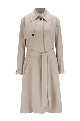 Regular-fit trench coat in natural hemp, Beige