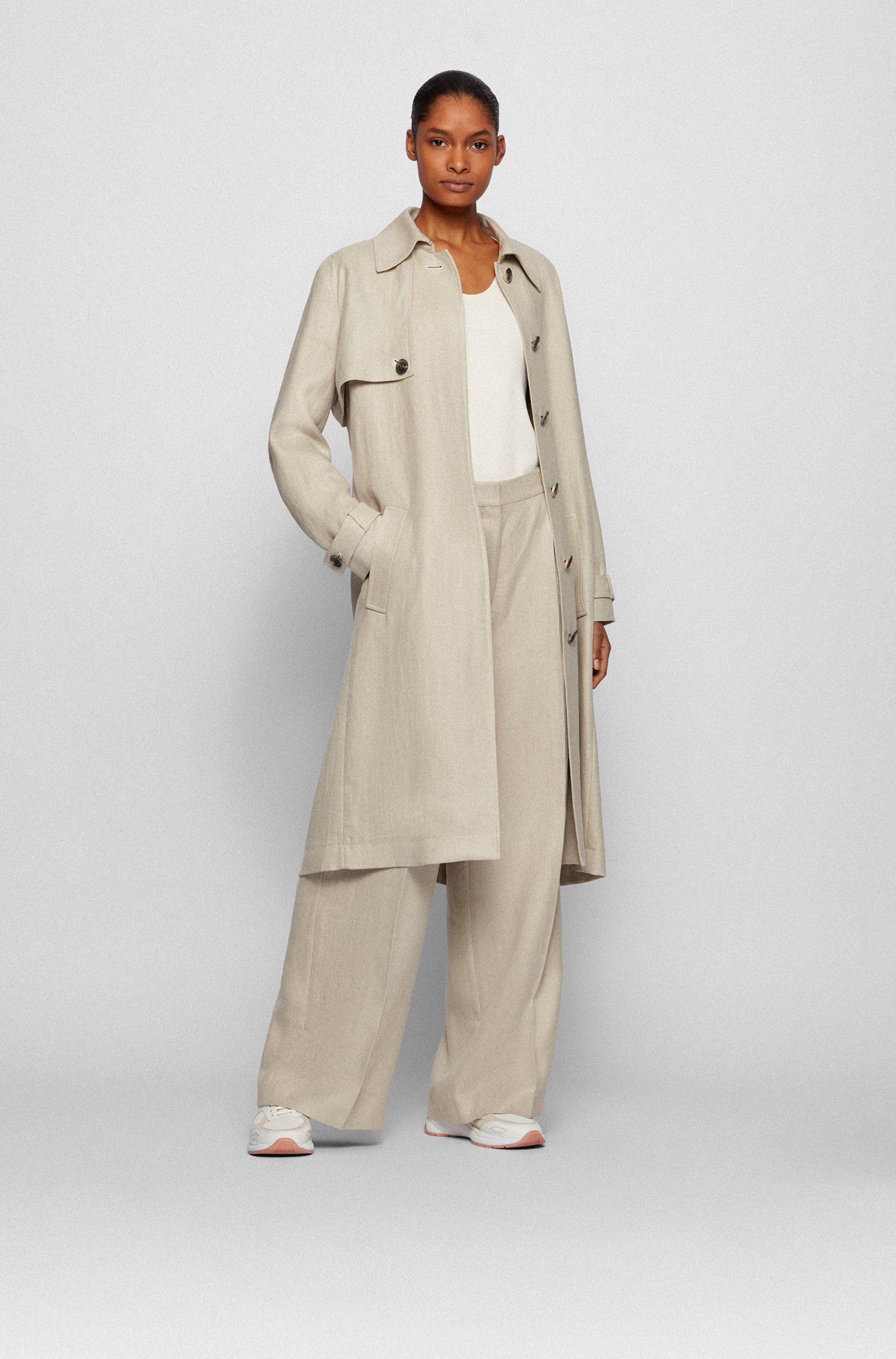 Regular-fit trench coat in natural hemp