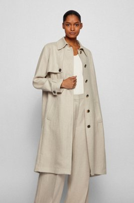 Regular-fit trench coat in natural hemp, Beige
