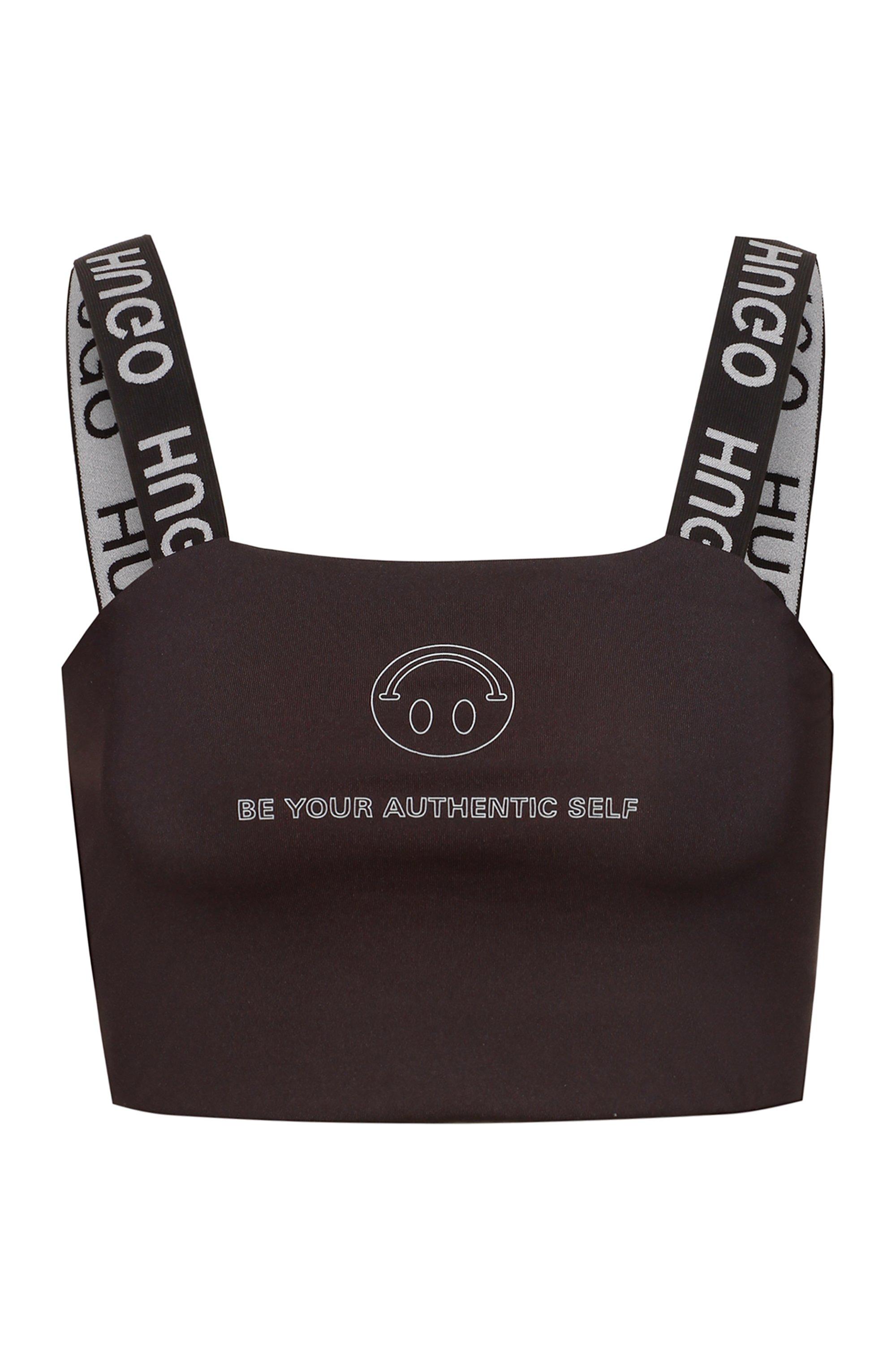 HUGO x Smiley® slim-fit crop top, Black