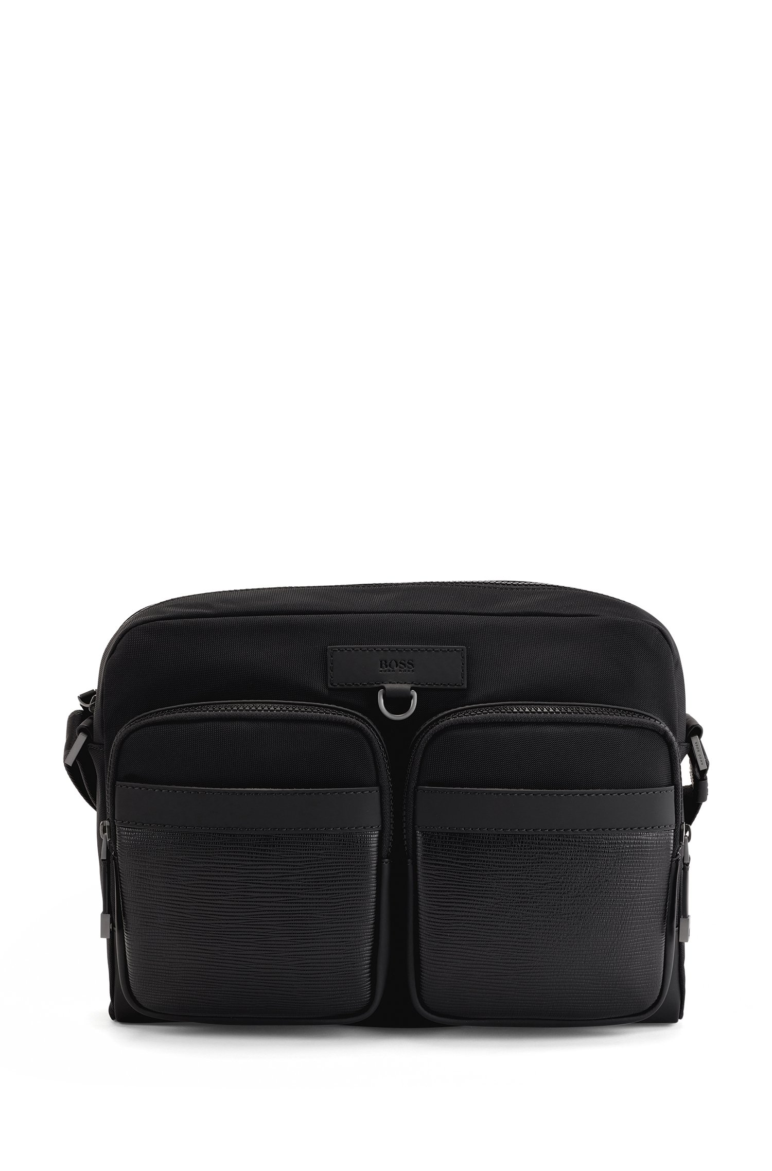 Recycled-nylon messenger bag with Italian-leather trims, Black