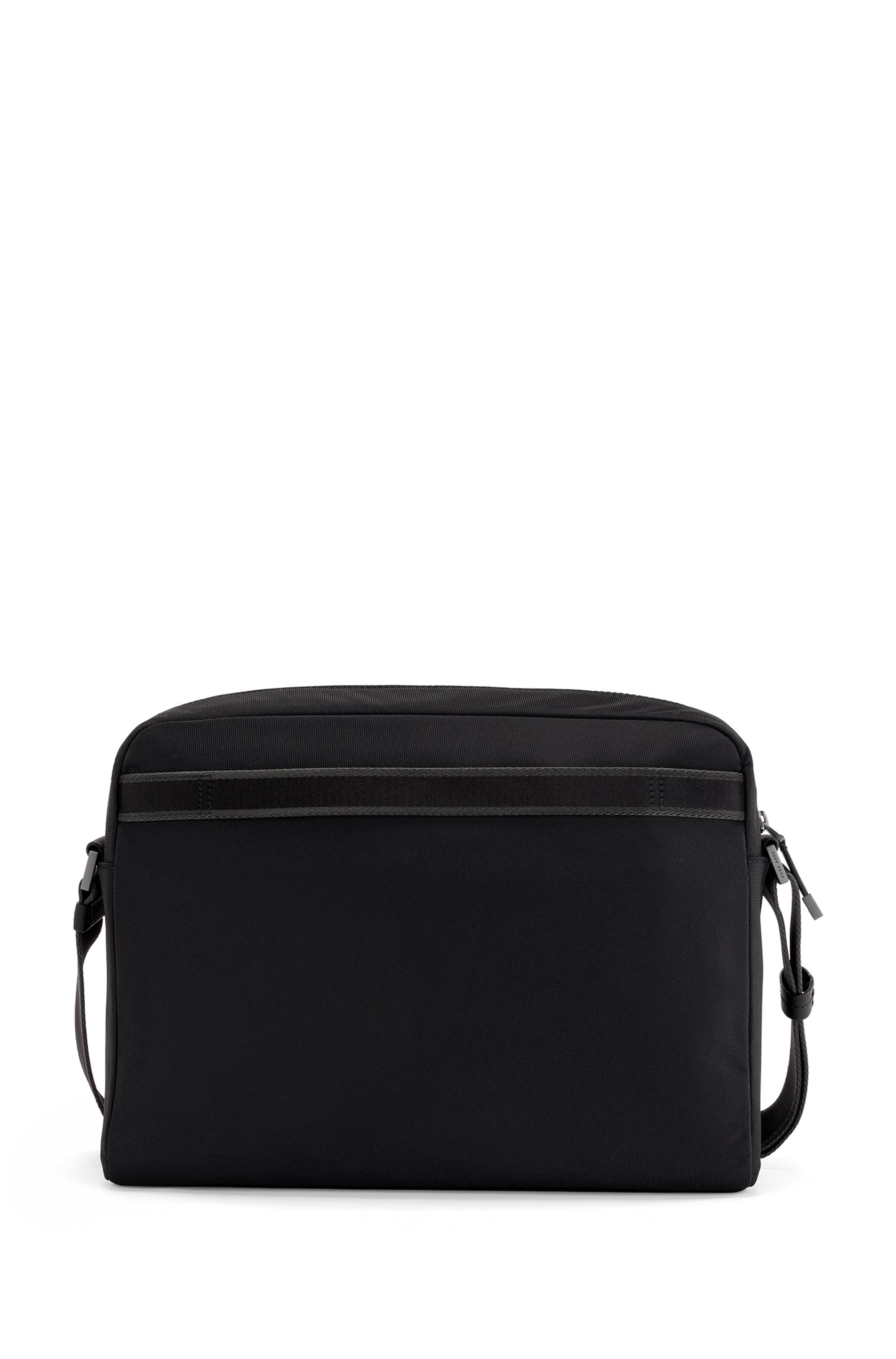 Recycled-nylon messenger bag with Italian-leather trims