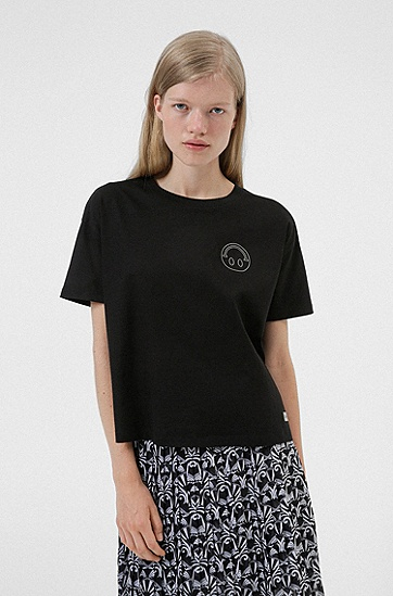 Smiley® 图标棉质宽松T恤,  001_Black